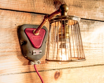 Wall lamp, Steampunk lamp, Wall sconce, Upcycled lamp, Industrial lampshade, Wall lighting fixture, Cool lighting, Designer lamp, Lighting
