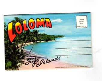Vintage Loloma Fiji Islands Postcard Souvenir Folder, Retro Souvenir Ephemera, Travel Journal, Scrapbook Supplies