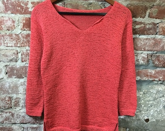 Vintage Sweater 1990's Women's V-Neck Pullover Sweater Coral Color