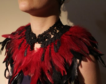 Feather Collar Burgundy Feathers Black Lace