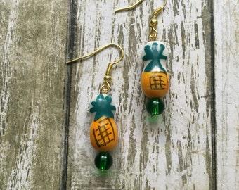 Painted pineapple earrings