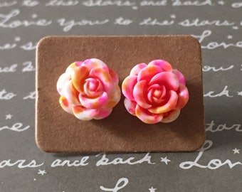 Gorgeous pink and yellow rose studs