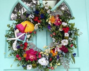 Beach Wreqth-Starfish and Flowers Wreath - PartyWreath-Wedding Wreath-Starfish Wedding Decoration-Beach Wedding-Starfish Wreath-Shell
