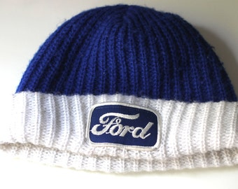 Vintage 70s Knit Ski Hat Ford Patch Blue White Cozy Knit Cap