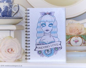UNDYING LOVE zombie tattoo handmade A6 notebook