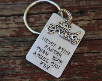 Harley Davidson Motorcycle Keychain-Never Ride Faster Than Your Angel Can Fly- Fathers Day Gift--Gift for Dad-Memorial Keychain-Remembrance-