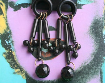 1980s BLACK Goth Earrings..costume. 1980s glam. sexy. killer 80s. rad. rocker. punk. indie. hipster. geometric. dangly. funeral. fancy