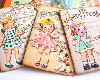 Friendship Note Card Set - Little Girls And Puppy Dogs Vintage Song Titles Sheet Music Animal Friends Musical Notes - 3 Sm Greeting Cards
