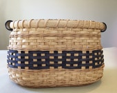 SALE - Save 20% - Handmade Countertop Catchall Basket - Oak and Navy