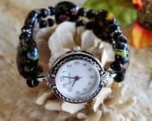 Black Millefiori Glass With Faceted Spacer Beads Size 7