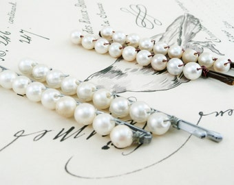 Pair of Vintage Pearl Hair Pins, Beaded Long Pearl Bobby Pins in Silver, Gold or Bronze for Bridal Hair or Everyday