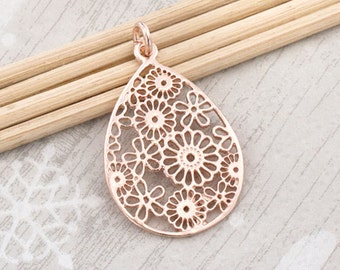 1 of 925 Sterling Silver Rose Gold Vermeil Style Filigree Flower Drop Pendant  19x25 mm.  :pg0268