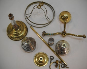 Lot Of Vintage Assorted Lamp Parts And Pieces