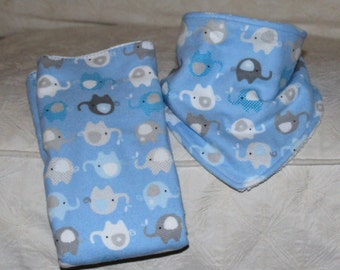 Elephant Baby Boy Bandana Drool Bib with Flannel Blue Elephant Print and Terry Cloth with a Matching Elephant Burp Cloth for Baby Boy Shower