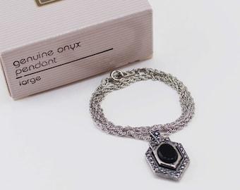 Vintage 1990 Signed Avon Genuine Onyx Pendant Black Semi Precious Gemstone Silver Tone Faux Marcasite Chain Necklace Original Box NIB