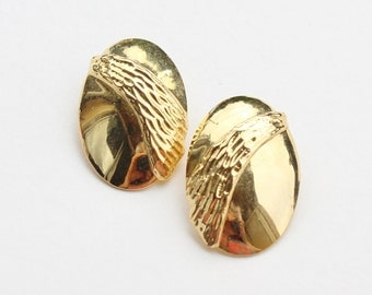 Vintage Goldtone Smooth Polished Glossy and Textured Oval Modern Minimalist Clip On Earrings
