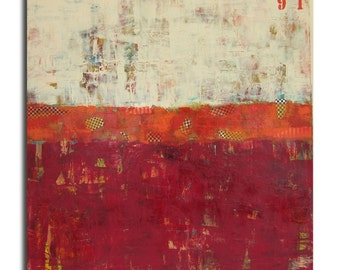 91-Large Abstract original  acrylic painting on canvas with collage