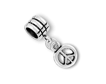 SALE Sterling Silver Peace Sign Charm Bead Marked 50% off Regular Price