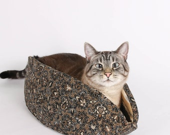 The Cat Canoe a Bohemian Pet Bed in Brown and Black Batik