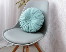 Round Pillow // Turquoise Pintuck Cushions Pillow Handmade Decorative  Home Decor