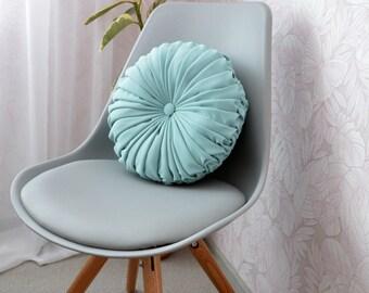 Round Pillow // Turquoise Pintuck Cushions Pillow Handmade Decorative  Home Decor
