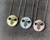 Cutout HoneyBee Necklace / choose your color, gold, silver, pink gold