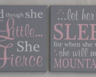 NURSERY WALL SIGNS Infant Girl Baby Wall Decor in Pink and Gray, Nursery Decor, Set of Two