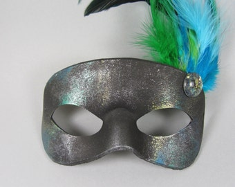 Nebula Feathered Teal Leather Masquerade Mask