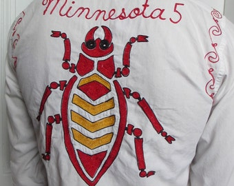 50s Vintage Men's  Embroidered Huge Bug Duluth Shirt sm/med