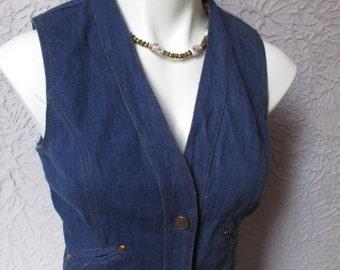 70s Vintage Boutique French Dressing Indigo Denim Vest Copper rivets med.