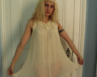 70's Vintage Sheer Gauze Lace Hippie Summer Dress med.
