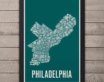 PHILADELPHIA Neighborhood Typography Map Print