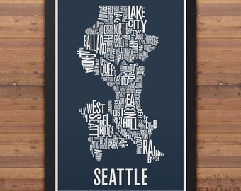 SEATTLE Neighborhood Typography City Map Print
