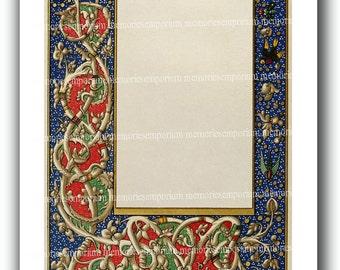 Renaissance Florentine Wedding Stationery Page Invitations Parties Menus Letters Printable Illuminated Manuscript Download Medieval  772