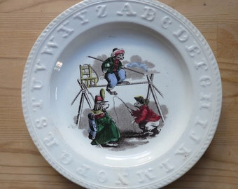 Antique ABC Staffordshire Monkey Plate Elsmore and Son Transferware