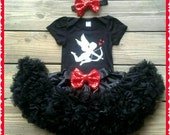 Valentines Cupid Outfit, Sparkly Glitter Cutest Cupid Outfit,  Valentines black and silver cupid top with black chiffon pettiskirt