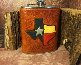 Texas Flask Antique Saddle Tan - 8oz Stainless Steel Flask - ALREADY MADE - Rustic Traditional Rancher Cowboy Texan Red White Blue