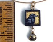 Hand Painted Raven Pendant with Pyrite