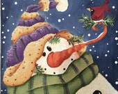 Hand painted snowman on stretched canvas -FAAP- OFG