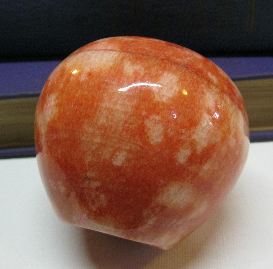 Red Alabaster Stone : Vintage apple stone fruit decor marble alabaster red speckled