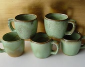 Vintage FRANKOMA Pottery Mugs Cups ~ Set of 5 ~ Prairie Green and Gold / Brown