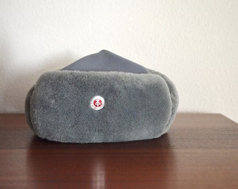 Vintage Gray Faux Fur German Russian Military Style Winter Hat