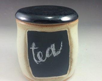 Speckled Yellow and Metallic Black Chalkboard Ceramic White Stoneware Lidded Jar