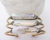 Raw Crystal Point Bracelet -Raw Stone- Pyrite Minerals -Cuff  Bracelet - Boho