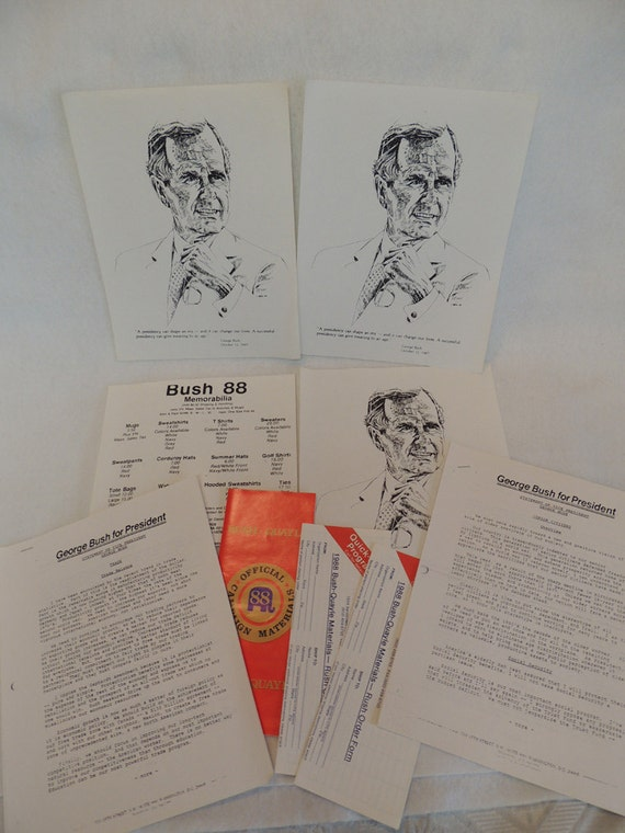 9 pieces of Vintage Bush-Quayle 88 Official Election Campaign Materials
