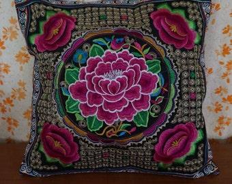 Thai pillow case -  Ethnic Boho Pillow Cover - Hmong Embroidered Pillow Cushion - Boho Cushion cover - Tribal Thai cushion