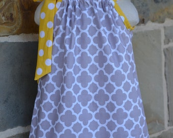 Gray Quatrefoil and Yellow Polka Dot Pillowcase Dress