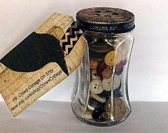 Vintage Button Lot, Plastic Buttons, Vintage Glass Jar, Spice Jar, Buttons In A Jar
