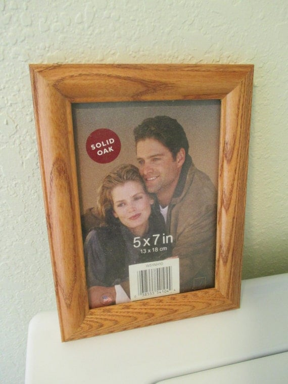 Vintage Solid Oak Picture Frames With Glass Insert - 5X7