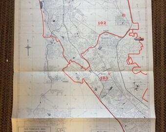 Industrial Decor Map 1980's San Francisco Daly City San Bruno more huge California vintage